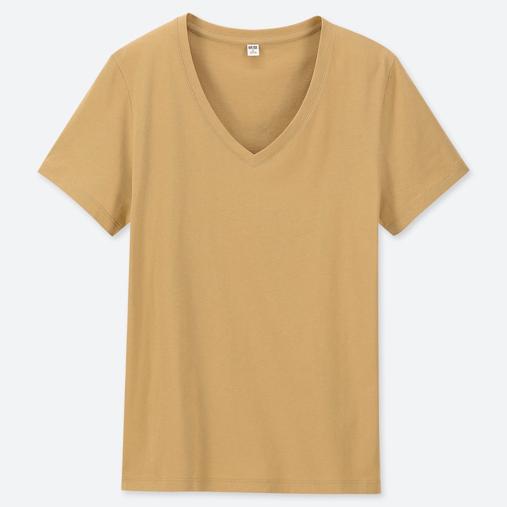 WOMEN SUPIMA® COTTON V-NECK SHORT-SLEEVE T-SHIRT, MUSTARD, large