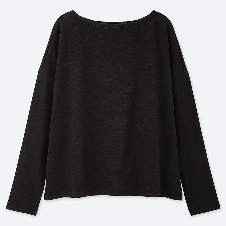WOMEN STRETCH SLUB JERSEY BOAT NECK LONG-SLEEVE T-SHIRT, BLACK, large