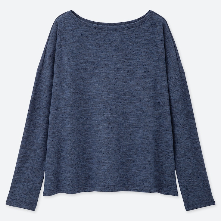 WOMEN STRETCH SLUB JERSEY BOAT NECK LONG-SLEEVE T-SHIRT, BLUE, large