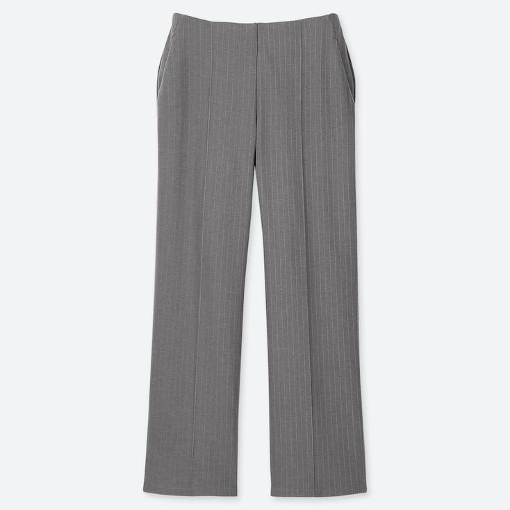 WOMEN PONTE HIGH-WAIST STRAIGHT PANTS, GRAY, large