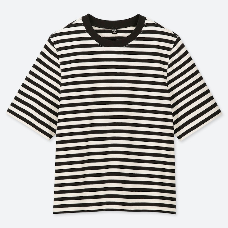 WOMEN STRIPED CROPPED CREW NECK SHORT-SLEEVE T-SHIRT, BLACK, large