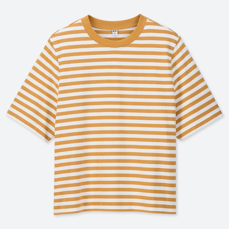 WOMEN STRIPED CROPPED CREW NECK SHORT-SLEEVE T-SHIRT, YELLOW, large