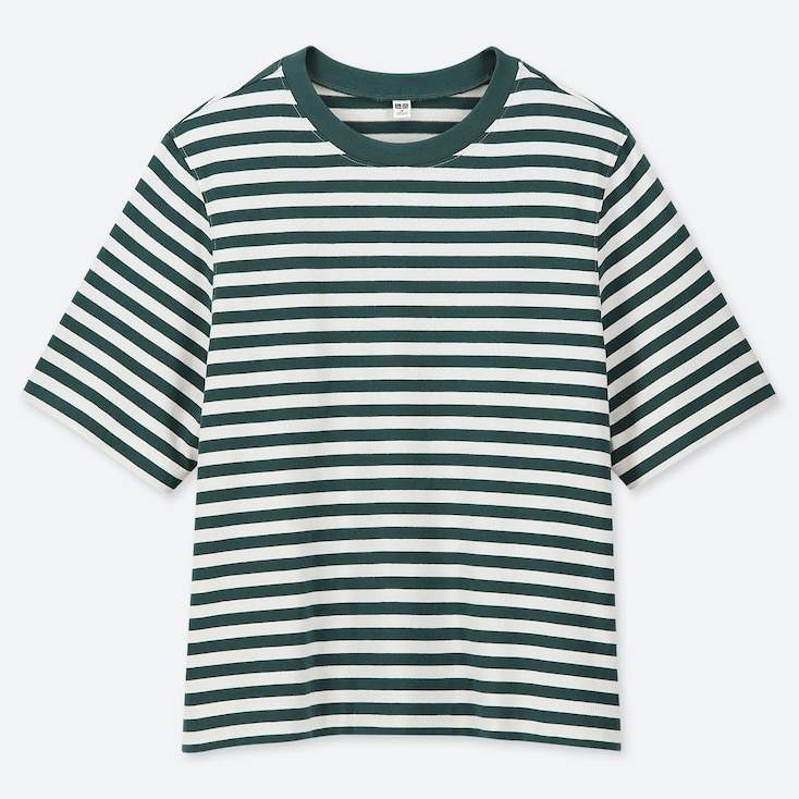 WOMEN STRIPED CROPPED CREW NECK SHORT-SLEEVE T-SHIRT, DARK GREEN, large