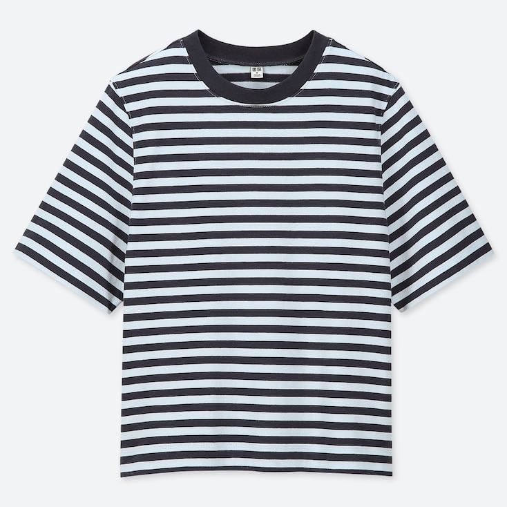 Women Striped Cropped Crew Neck Short-Sleeve T-Shirt, Blue, Large