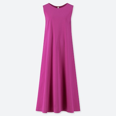 WOMEN MERCERIZED COTTON A-LINE SLEEVELESS LONG DRESS, PINK, medium
