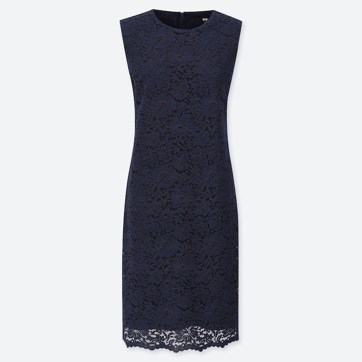 WOMEN LACE DRESS, NAVY, large