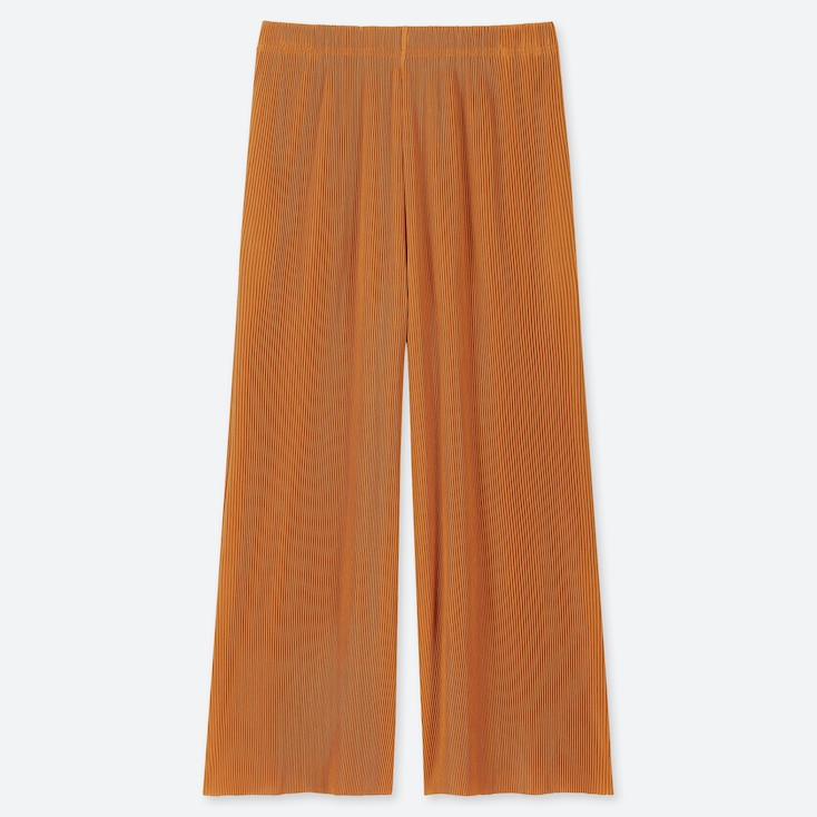 WOMEN PLEATED PANTS, YELLOW, large