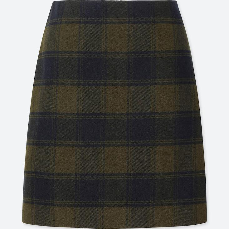 Women Wool-Blend High-Waisted Mini Skirt, Olive, Large