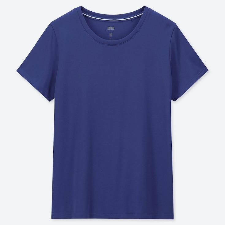 WOMEN DRY-EX CREW NECK SHORT-SLEEVE T-SHIRT, BLUE, large