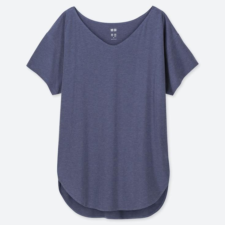 WOMEN AIRism SEAMLESS V-NECK LONG T-SHIRT, BLUE, large