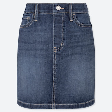 GIRLS ULTRA STRETCH DENIM SKIRT, BLUE, medium