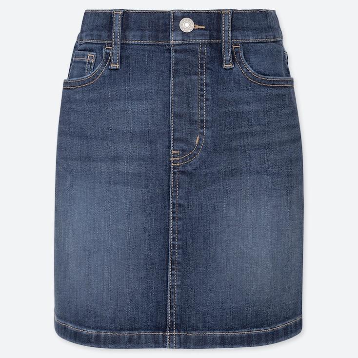 GIRLS ULTRA STRETCH DENIM SKIRT, BLUE, large