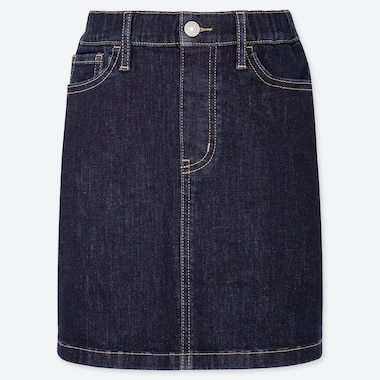 GIRLS ULTRA STRETCH DENIM SKIRT, NAVY, medium