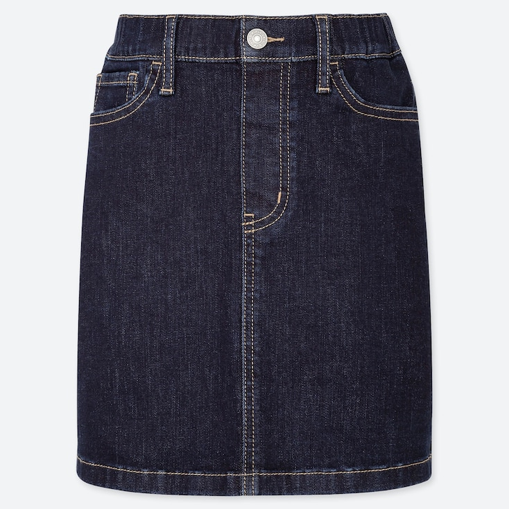 GIRLS ULTRA STRETCH DENIM SKIRT, NAVY, large