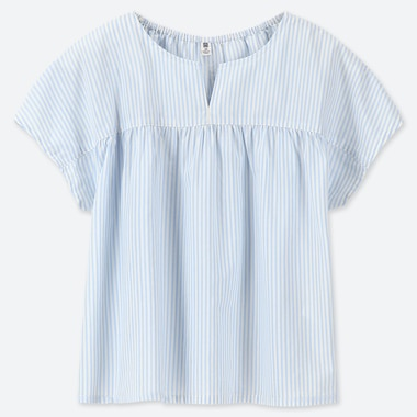 CAMICIA BAMBINA A RIGHE CON COLLETTO A FENDITURA E MANICHE CORTE
