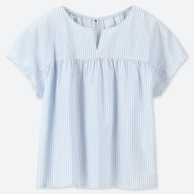GIRLS STRIPED SHORT-SLEEVE BLOUSE, BLUE, large