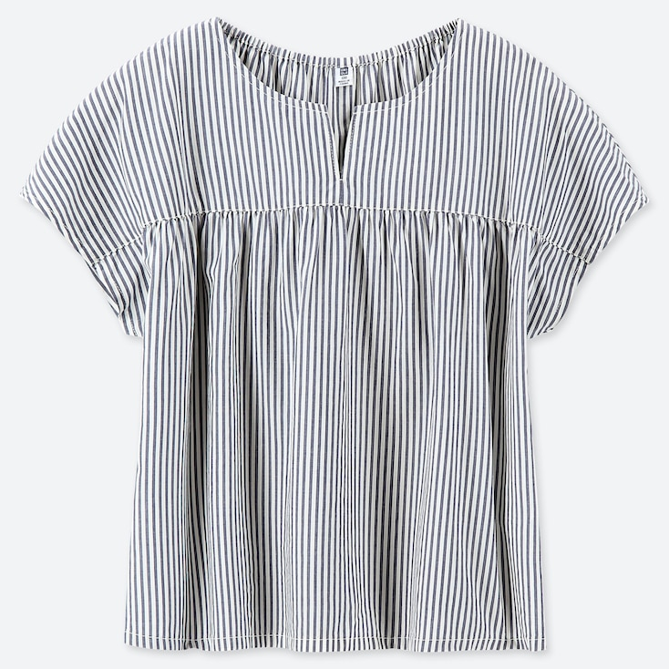 GIRLS STRIPED SHORT-SLEEVE BLOUSE, NAVY, large