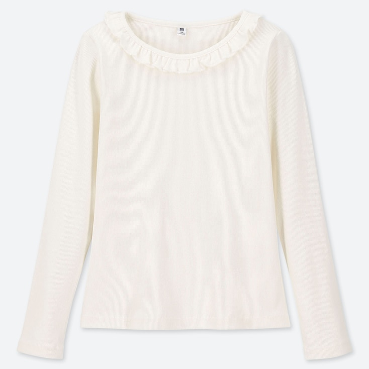 GIRLS RIBBED FRILL CREW NECK LONG-SLEEVE T-SHIRT, OFF WHITE, large