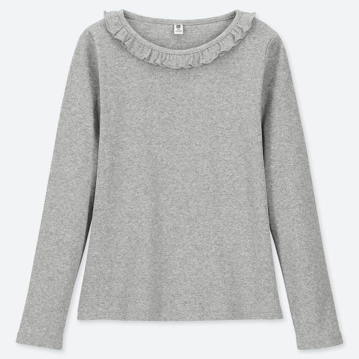 GIRLS RIBBED FRILL CREW NECK LONG-SLEEVE T-SHIRT, GRAY, large