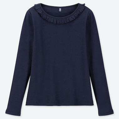 GIRLS RIBBED FRILL CREW NECK LONG SLEEVE T-SHIRT