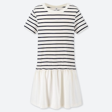 GIRLS STRIPED SHORT SLEEVED DRESS