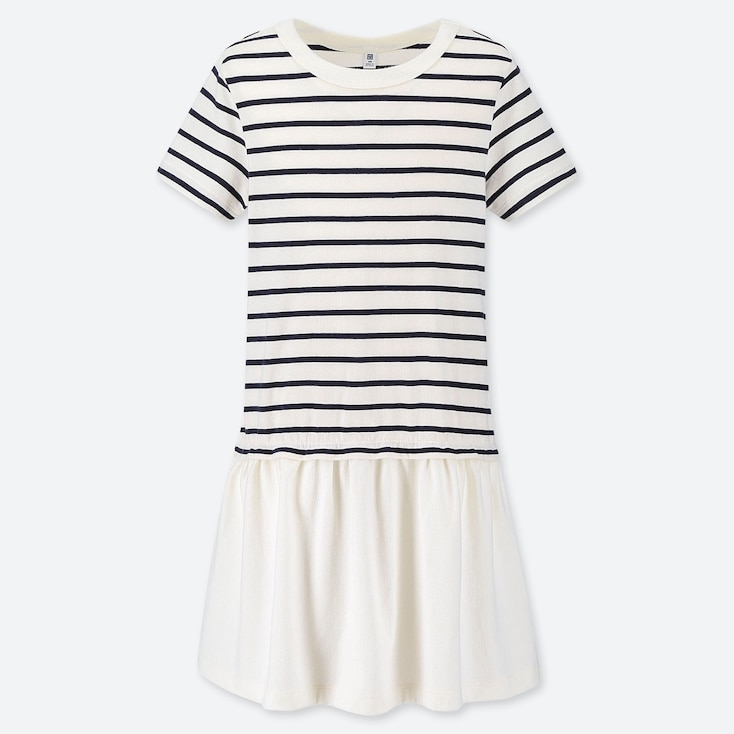 GIRLS STRIPED SHORT-SLEEVE DRESS, OFF WHITE, large