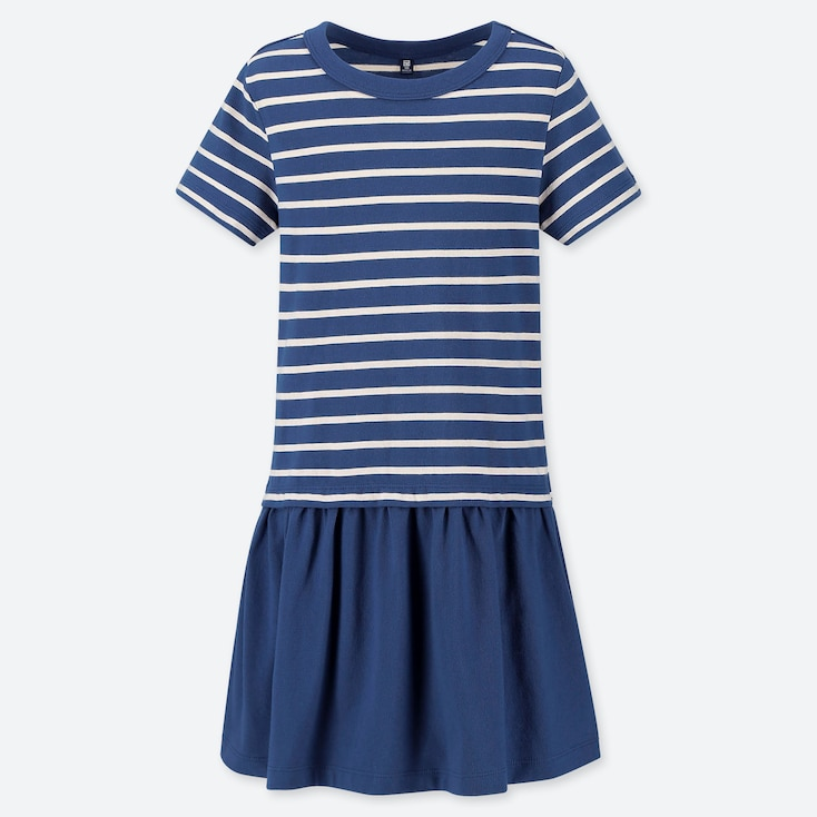 GIRLS STRIPED SHORT-SLEEVE DRESS, BLUE, large