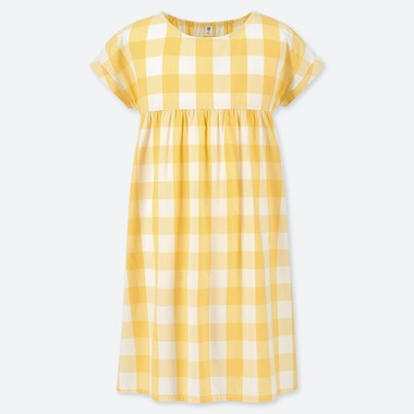 GIRLS CHECKED SHORT SLEEVED DRESS