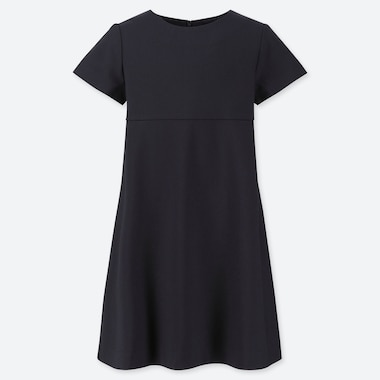GIRLS CREW NECK SHORT-SLEEVE DRESS, NAVY, medium