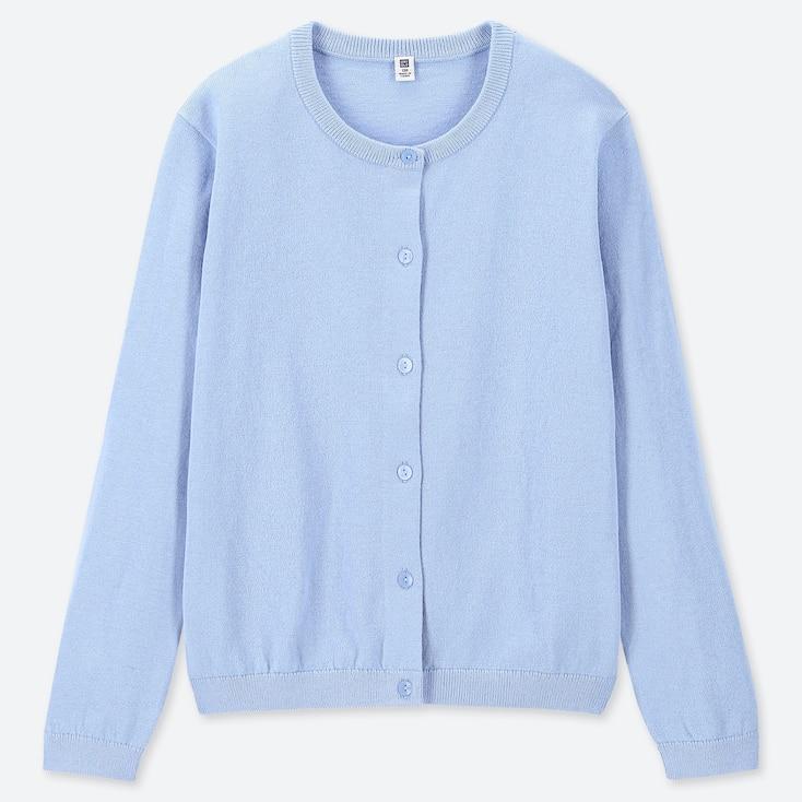 GIRLS UV CUT CREW NECK LONG-SLEEVE CARDIGAN, BLUE, large