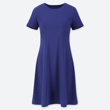 WOMEN A-LINE SHORT-SLEEVE MINI BRA DRESS, BLUE, medium