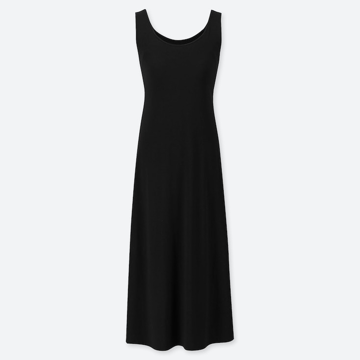 WOMEN SLEEVELESS LONG BRA DRESS, BLACK, large