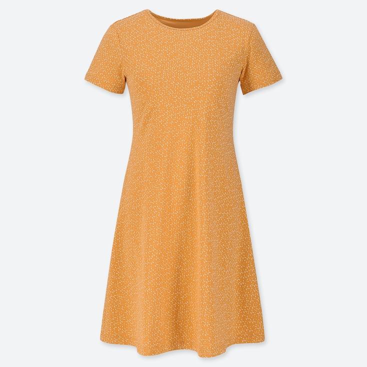 WOMEN PRINTED A-LINE SHORT-SLEEVE MINI BRA DRESS, YELLOW, large