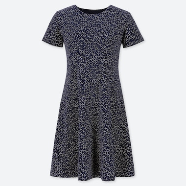 WOMEN PRINTED A-LINE SHORT-SLEEVE MINI BRA DRESS, NAVY, medium