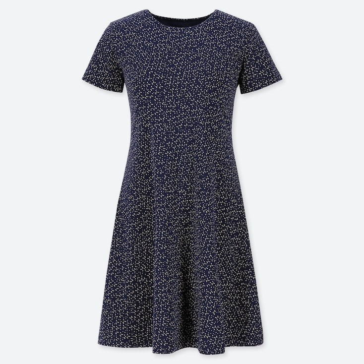 WOMEN PRINTED A-LINE SHORT-SLEEVE MINI BRA DRESS, NAVY, large