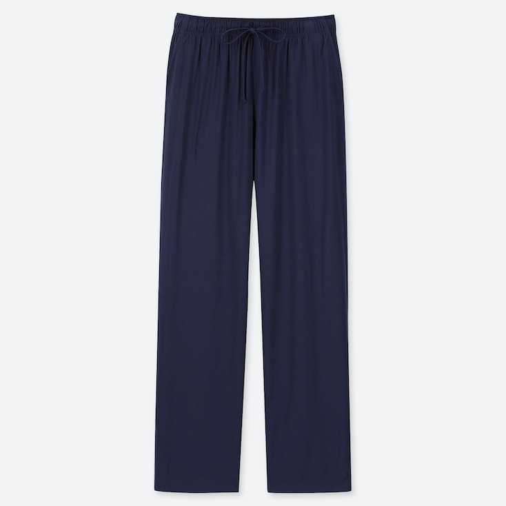 WOMEN DRAPE STRAIGHT PANTS, NAVY, large