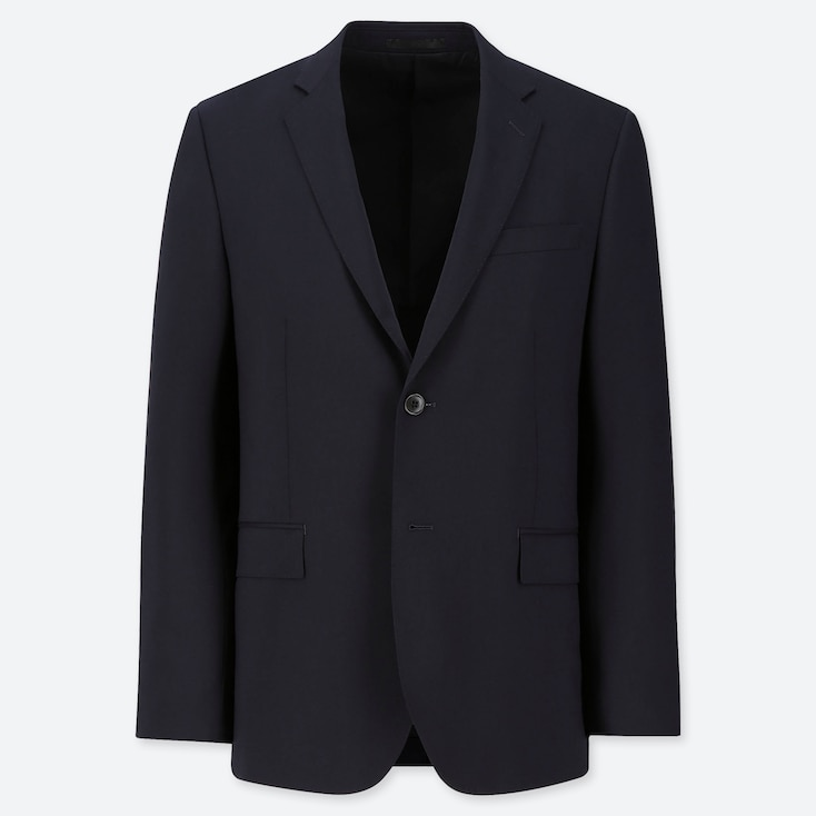 MEN STRETCH WOOL SLIM-FIT JACKET, NAVY, large