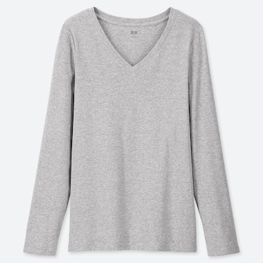 WOMEN 1*1 RIBBED COTTON V-NECK LONG-SLEEVE T-SHIRT, GRAY, medium