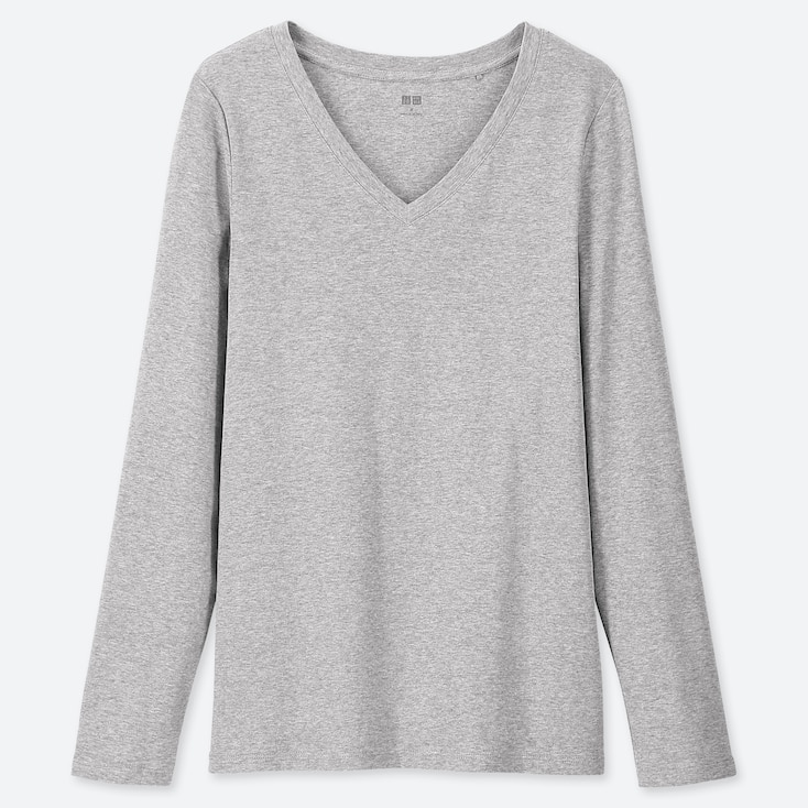 WOMEN 1*1 RIBBED COTTON V-NECK LONG-SLEEVE T-SHIRT, GRAY, large