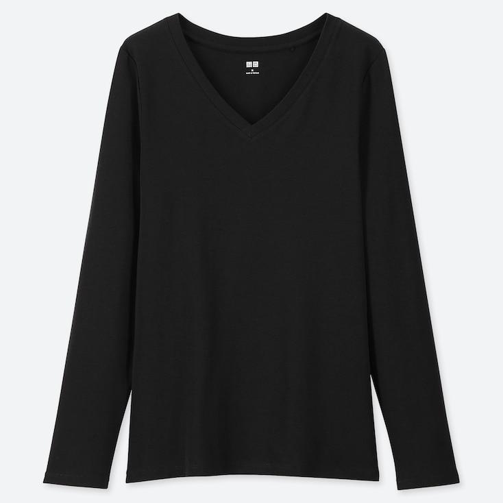 WOMEN 1*1 RIBBED COTTON V-NECK LONG-SLEEVE T-SHIRT, BLACK, large