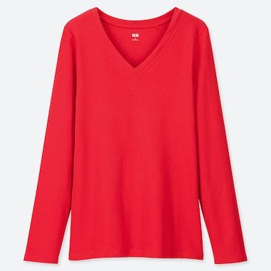 WOMEN 1*1 RIBBED COTTON V-NECK LONG-SLEEVE T-SHIRT, RED, medium