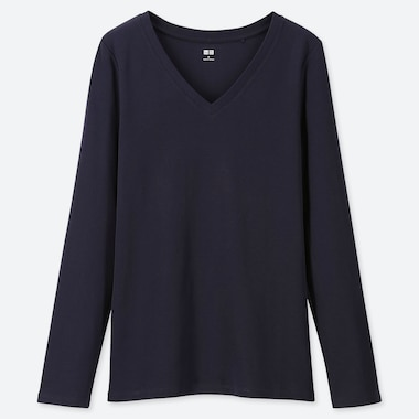 WOMEN 1*1 RIBBED COTTON V-NECK LONG-SLEEVE T-SHIRT, NAVY, medium