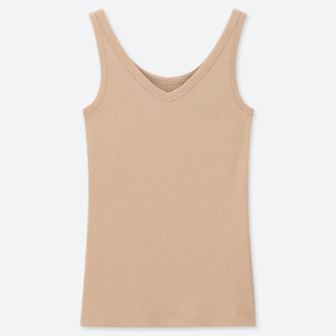 WOMEN RIBBED V NECK TANK VEST TOP