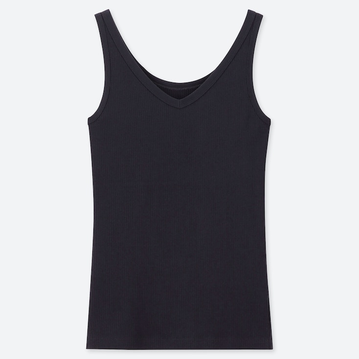 WOMEN RIBBED TANK TOP, NAVY, large