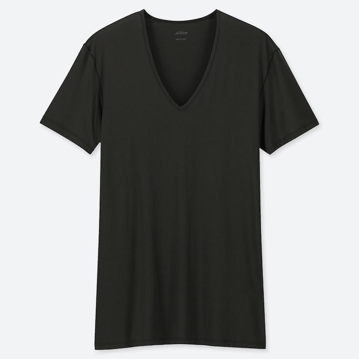 MEN AIRism V-NECK SHORT-SLEEVE T-SHIRT, BLACK, large
