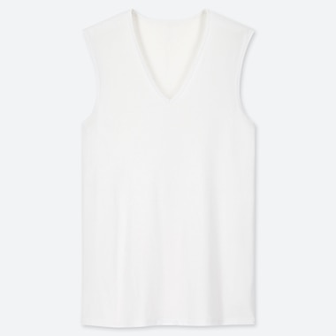 MEN AIRism MESH V-NECK SLEEVELESS TOP, WHITE, medium