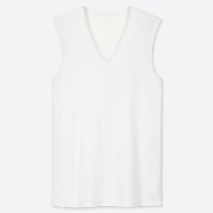 MEN AIRism MESH V-NECK SLEEVELESS TOP, WHITE, large