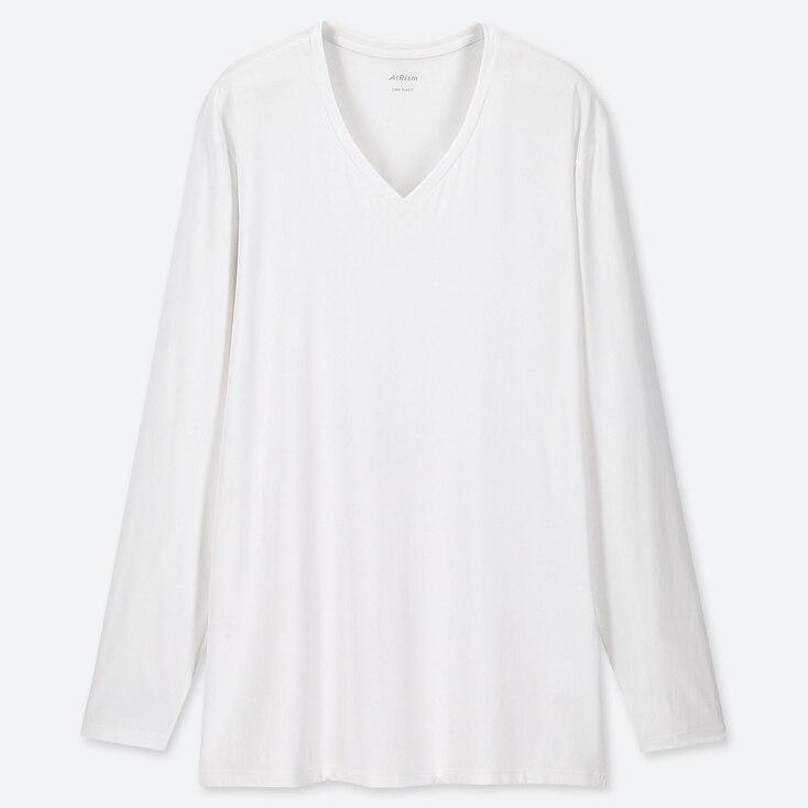 MEN AIRism V-NECK LONG-SLEEVE T-SHIRT, WHITE, large