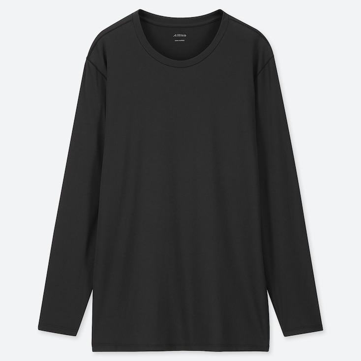 MEN AIRism CREW NECK LONG-SLEEVE T-SHIRT, BLACK, large