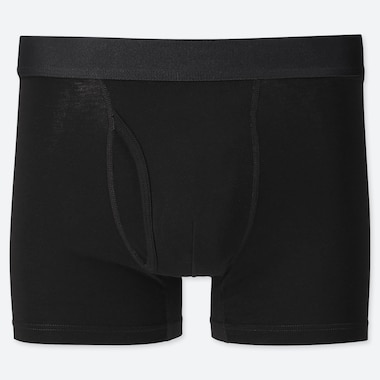 Men Supima© Cotton Boxer Briefs, Black, Medium